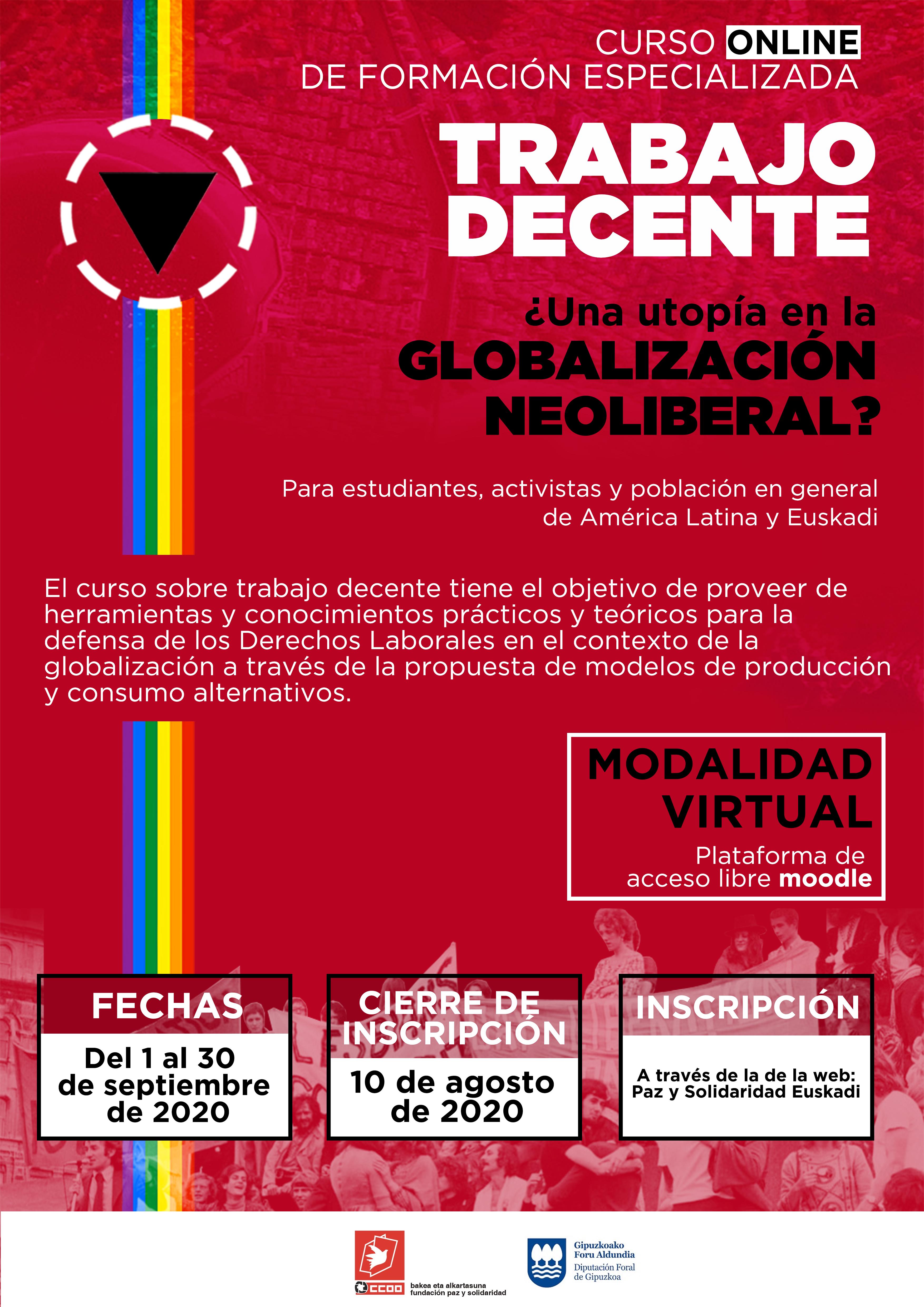 Curso online gratuito de formación especializada sobre TRABAJO DECENTE